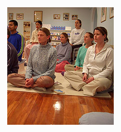 A meditation class at the Sri Chinmoy Centre